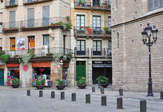 View of the street in Born quarter, Barcelona Stock Photos