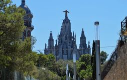 Temple of Tibidabo in Barcelona stock photography