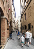 View of the street called `Via dei Pellegrini` from Piazza S. Giovanni Stock Photos