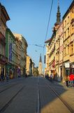 View of a street in the center of the czech city Olomouc with Cathedral of Saint Wencelas at the end Stock Photography