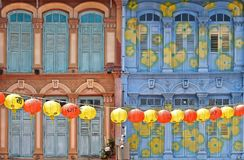 A view of a street in Chinatown district with colorful old buildings and red and yellows lanterns decorations. A view of a street in Chinatown district with Royalty Free Stock Photos