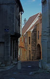 A view of a street in Clamecy, Burgundy, France.  Royalty Free Stock Photo