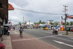 View of the street Colombo - Galle Main RD in Panadura city royalty free stock images