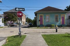View of a street with colorful houses in the Marigny neighborhood in the city of New Orleans stock images