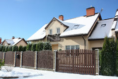 View on street with cottages in winter Stock Photo