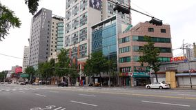 View of street at Dongdaemun district in Seoul, Korea stock video