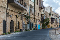 View of street facing the old port of Jaffa in Israel stock photo