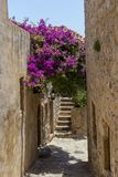 View of street fortified town Monemvasia Laconia, Greece, Peloponnese. View of the street of the fortress city of Monemvasia Laconia, Greece, Peloponnese on a stock photography