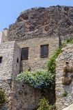 View of street fortified town Monemvasia Laconia, Greece, Peloponnese. View of the street of the fortress city of Monemvasia Laconia, Greece, Peloponnese on a stock photo