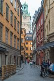 View from the street in Gamla Stan, the old town of Stockholm. royalty free stock photography