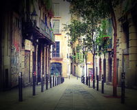 View of the street in gothic quarter, Barcelona Royalty Free Stock Image