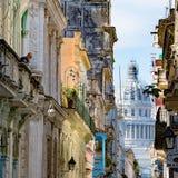 Capitolio Havana, View over Balconies to Capitolio in Havana, Cuba stock photo