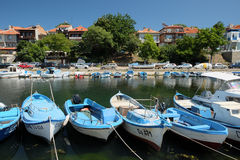 View on street Kraybrezhna and boats on July 19, 2015 in town of Sozopol, Bulgaria Stock Images