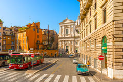 View at the street , leading to church in Rome, Italy. Royalty Free Stock Photography