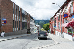 View of a street in Lillehammer on a sunny summer day on June 27, 2016 in Lillehammer, Norway Stock Photography