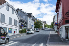 View of a street in Lillehammer on a sunny summer day on June 27, 2016 in Lillehammer, Norway Stock Image