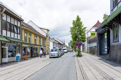 View of a street in Lillehammer on a sunny summer day on June 27, 2016 in Lillehammer, Norway Stock Images