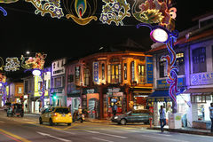 View of the street LIttle India with colorful decoration. Stock Image