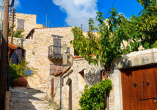 A view of street in Lofou village. Limassol District. Cyprus Stock Photos