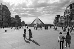 View from the street louvre. Museum in Paris Royalty Free Stock Photography