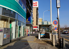 View of street with many shops at downtown in Nagoya, Japan Royalty Free Stock Photography