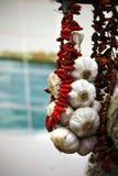 Hanging garlic and pepper Stock Photos