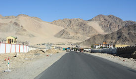 View of the street with military barrack in Leh, India Royalty Free Stock Photography