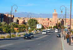 View on street and mosque in Ouarzazate Royalty Free Stock Photo