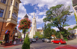 View of street near Matthias church in Budapest city, Hungary Stock Image