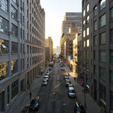 View of street in New York City during sunset Stock Photo