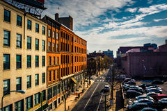 View of street and old buildings from the Ben Franklin Bridge Wa Royalty Free Stock Photos
