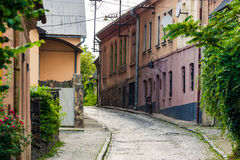 View on street of old european city Royalty Free Stock Image