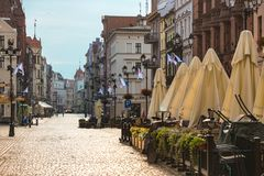 View of the street old Polish town of Torun. TORUN, POLAND  - JULY 21, 2017: view of the street old Polish town of Torun. TORUN, POLAND, jujy 21, 2017 Royalty Free Stock Photos