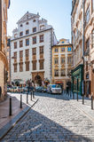 View of street in old town district Royalty Free Stock Image
