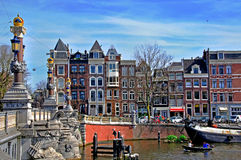 View of the street over the channel in Amsterdam Stock Photography