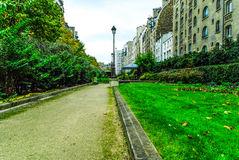 View of a street in Paris. With trees windows and nice weather Royalty Free Stock Photography