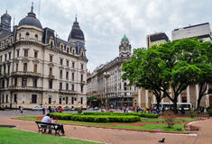 View on the street from Plaza de Mayo square in Buenos Aires Royalty Free Stock Photography