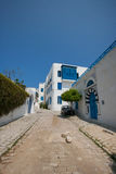 View of street and residential building against clear blue sky, Tunis, Tunisia Royalty Free Stock Photo