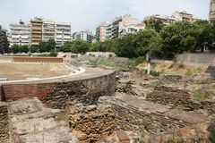 View of street with ruins in Thessaloniki, Greece. royalty free stock images