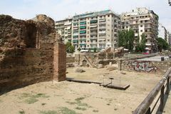 View of street with ruins in Thessaloniki, Greece. stock image