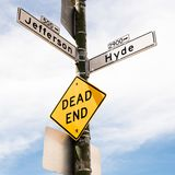 Dead end for this way. View of a street sign symbol dead end. symbol. concepts royalty free stock photos