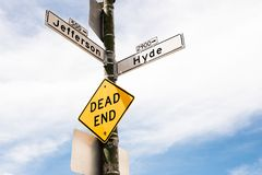 Dead end for this way. View of a street sign symbol dead end. symbol. concepts stock photo