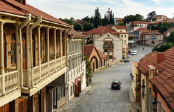 View of street in Signagi or Sighnaghi city. Georgia royalty free stock photo