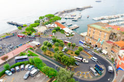 View on street in Sorrento, campania, Italy in miniature fake tilt shift effect. Amazing view on Sorrento street in minaturs Royalty Free Stock Photos