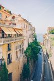View of the street in Sorrento, Italy. Sorrento beautiful way to the sea between the rock royalty free stock photography