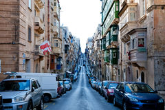 View on the street St.Elmo place Misrah Sant Jermu in the centre Stock Photo