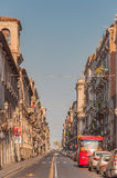 View of the street and tourists in Catania city Sicily, Italy. royalty free stock images