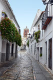 View of a street and tower of Zafra Stock Photography