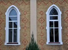 View from the street on the metal-plastic windows. View from the street on the windows of metal-plastic Royalty Free Stock Photos