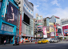 View of street in Ximen district, Taipei, Taiwan Royalty Free Stock Photo